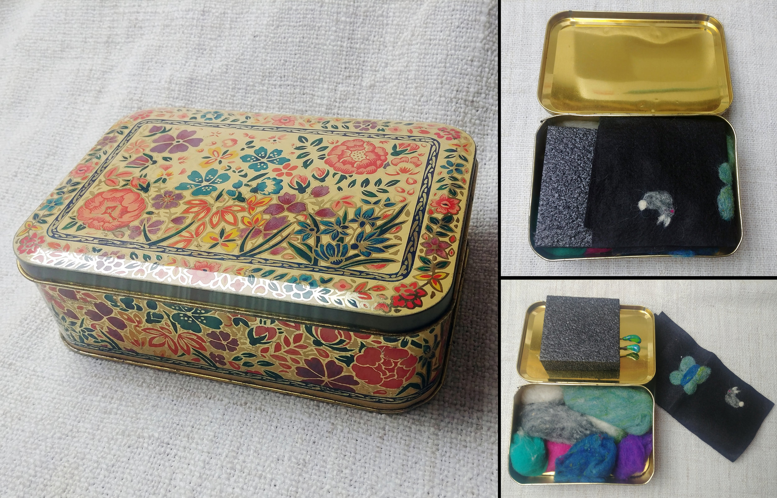 vintage tin needle felting travel kit