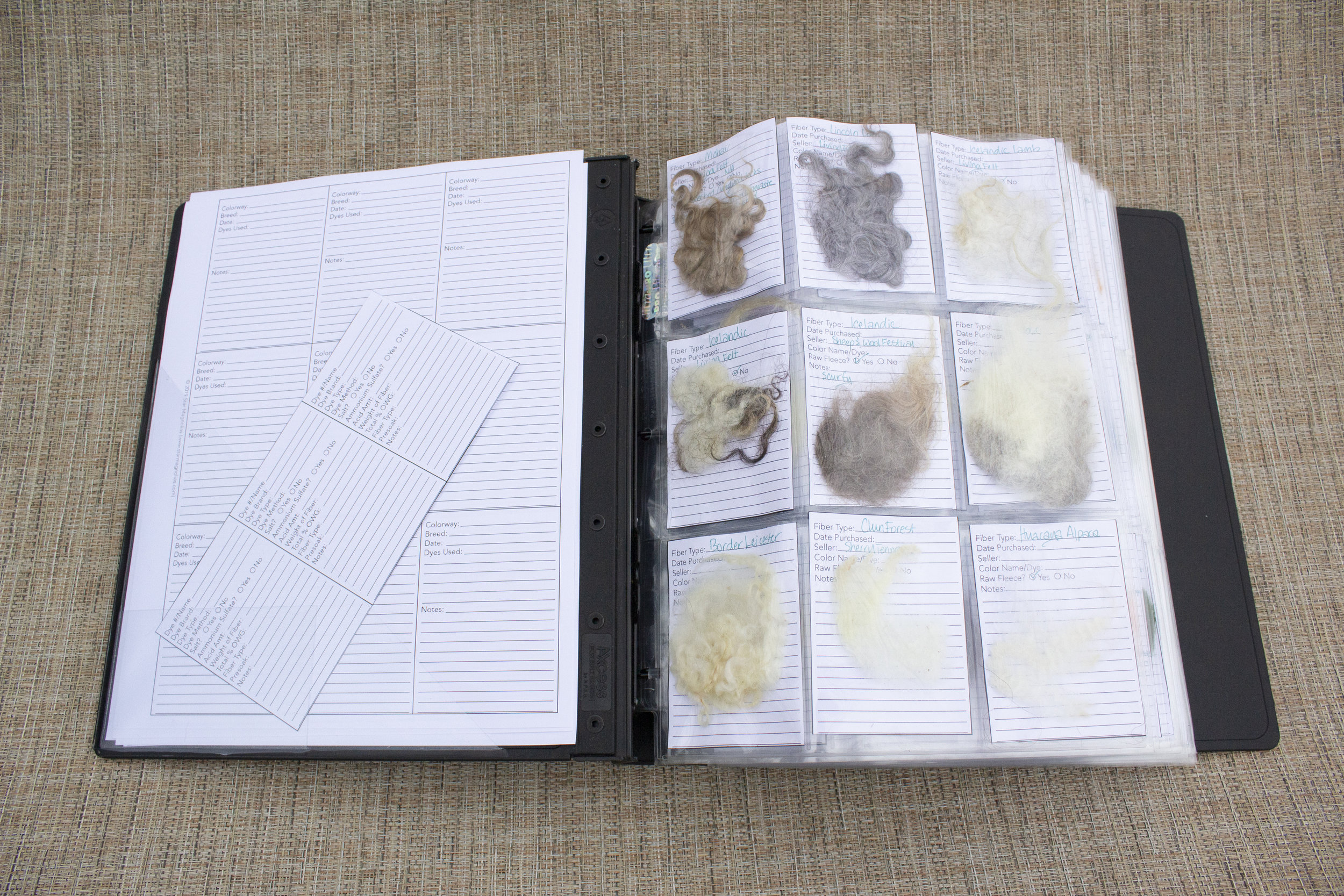 Image: open binder with playing card organizer sheets showing various undyed locks stuffed in the pockets in front of forms explaining what each lock is