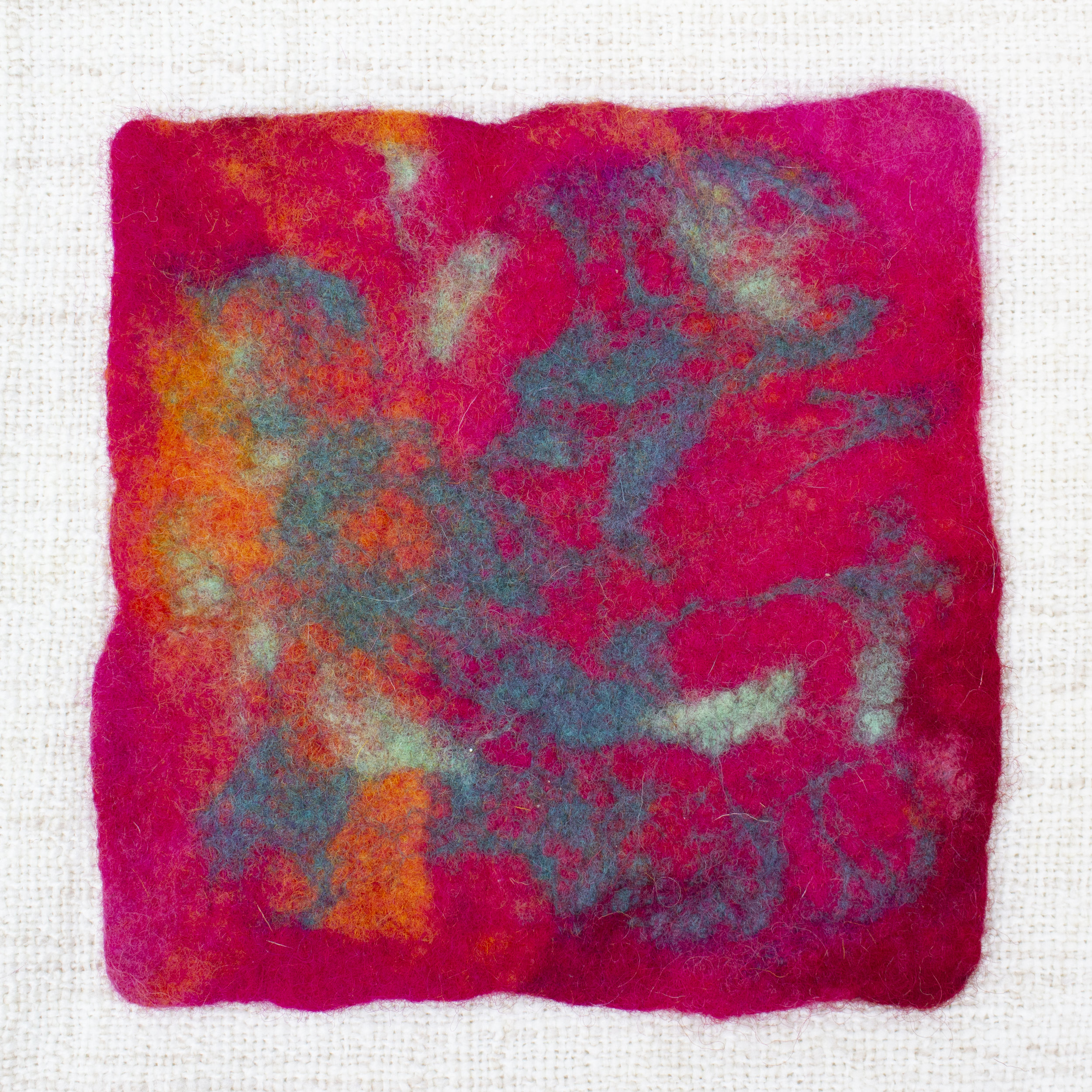 wet felted swatch - Shrinkage Rate = 25%