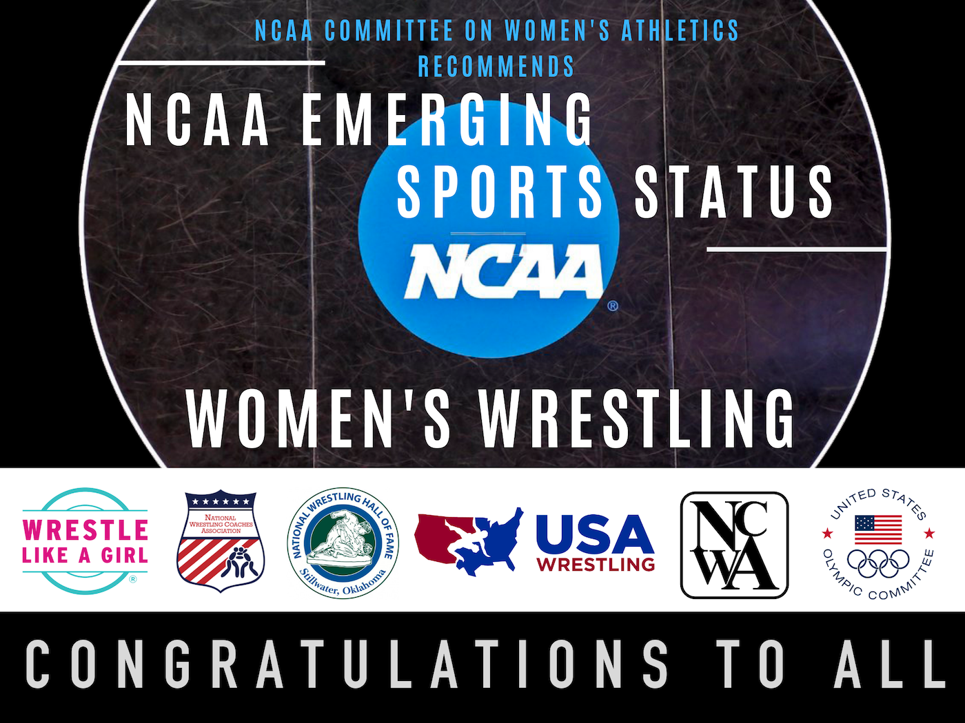 "Wrestling community applauds NCAA Committee for Women's Athletics decision recommending women's wrestling for Emerging Sports Status - For immediate release, June 2, 2019 10:30 a.m. ETWrestling community applauds NCAA Committee for Women's Athletics decision recommending women's wrestling for Emerging Sports StatusThe U.S. wrestling community, including its leading organizations, is celebrating today's announcement from the National Collegiate Athletic Association (NCAA) concerning women's wrestling.The NCAA's Committee on Women's Athletics (CWA) has ""recommended that all three divisions of the NCAA governance structure add women's wrestling as an NCAA emerging sport, effective August 1, 2020.""Each NCAA division (Division I, Division II and Division III) will address this recommendation separately, and will determine independently if women's wrestling is added to the division's Emerging Sports list.Beginning in August 2017, a coalition of wrestling organizations, including Wrestle Like A Girl, the National Wrestling Coaches Association, USA Wrestling, the National Wrestling Hall of Fame, the U.S. Olympic Committee, and expanding to include the National Collegiate Wrestling Association, worked together to submit an application to the NCAA CWA for women's wrestling to attain Emerging Sport Status. All of the national leaders in wrestling have supported this effort and supplied information for the bid that was sent to the NCAA CWA, in compliance with all of the requirements of Emerging Sport Status.The wrestling community applauds and thanks the NCAA's Committee for Women's Athletics for its governance and vision in reviewing the women's wrestling application and recommending wrestling for NCAA Emerging Sport Status.The wrestling community celebrates the role Title IX has played in developing women's wrestling opportunities, and pledges to continue to build the sport with that spirit of inclusion until it achieves official Championship status within the NCAA, and thereafter.""This is a great day for wrestling. The recommendation from the NCAA Committee on Women's Athletics could impact the lives of thousands of women student-athlete wrestlers for generations to come. We thank the efforts of all the wrestling organizations who have led the charge seeking Emerging Sport Status. USA Wrestling is fully committed to supporting wrestling for women and girls at all levels and is excited about the future. We are encouraged by today's decision, and fully expect it to help accelerate the growth of women's wrestling,"" said Rich Bender, Executive Director of USA Wrestling.""The NWCA is eternally grateful for all of the collaborative efforts between the wrestling community and the NCAA to make this day possible. This is a great day for countless young women across the nation who are one step closer to having access to an NCAA championship for women's wrestling,"" said Mike Moyer, Executive Director of the National Wrestling Coaches Association.""Wrestle Like A Girl and its national partners share in the glory of the women's wrestling recommendation to the NCAA Div. I, II, and III Committees for Emerging Sports Status. Collaborating with state high school athletic associations and the Olympic movement, and powered by Title IX, thousands of women will now have access to the NCAA's annual pool of $2.9 billion in athletic scholarships providing powerful sports experiences and educational opportunities. Wrestling, as a one-on-one contact sport, uniquely teaches women agency over space, voice and body. We are proud to be a leading voice for equality in the sport of wrestling, and at-large,"" said Sally Roberts, two-time World Bronze medalist, combat veteran and founder of Wrestle Like A Girl.""""The National Wrestling Hall of Fame fully supports Emerging Sports status for women's wrestling and takes great pride in sharing the message that wrestling does not discriminate based on gender, size, ethnicity or physical limitations and it is truly a 'Sport For All' and 'Any BODY Can Wrestle',"" said Lee Roy Smith, Executive Director of the National Wrestling Hall of Fame. ""We look forward to welcoming many more females into the Hall of Fame as women's wrestling continues to grow as a result of this decision.""""The NCWA is proud to have been a small part of this collaborative effort to provide women the inclusive opportunity to compete at the highest levels in college sport through the NCAA. With this outstanding victory for wrestling we remain committed in our efforts to the expansion of wrestling opportunities to student athletes at all levels,"" said Jim Giunta, Executive Director of the National Collegiate Wrestling Association.Currently, there are 23 NCAA programs (varsity or club) that have met the qualifications to be included in the NCAA ESS bid, with a minimum roster size of six, and a competition schedule with at least five contests. An additional 13 NCAA programs are scheduled to add women's wrestling for the upcoming 2020 or 2021 competition season. In addition, dozens of women's wrestling clubs have been established on other NCAA-affiliated campuses and are working towards increasing their rosters and competition schedules.Current varsity or club programs that have met the minimum requirement of a roster size of 6, and 5-contest competition schedule include: Adrian College, Colorado Mesa University, Colorado State University, Dixie State University, Emmanuel College, Ferrum College, Gannon University, King University, Lakeland University, Liberty University, Lindenwood University, MacMurray College, McKendree University, Pacific Lutheran University, Pacific University, Presbyterian College, Simon Fraser University, Tiffin University, Schreiner University, University of Houston, Fresno State University, and University of Texas – Arlington, Texas A&M.NCAA programs that are adding women's wrestling for the upcoming seasons, as of May 30, 2019:1. Alderson Broaddus University 2019–2020 (Div. II)2. Augsburg University 2019-20 (Div. III)3. Davenport University 2020–2021 (Div. II)4. Delaware Valley University 2019–2020 (Div. III)5. East Stroudsburg University 2019–2010 (Div. II)6. Fontbonne University 2019-2020 (Div. III)7. Iowa Wesleyan University 2020-2021 (Div. III)8. Limestone College 2019–2020 (Div. II)9. Lock Haven University 2019-20 (Div. II)10. New Jersey City University 2020-21 (Div. III)11. North Central College 2019–2020 (Div. III)12. University of Wisconsin–Stevens Point 2019–2020 (Div. III)13. Westminster College 2019–2020 (Div. III)Overall, the number of women's college wrestling programs from all college sports associations combined (both existing and announced) is over 83 and growing.Girls and women's wrestling is one of the fastest growing sports in the United States. There are currently 16 state high school athletic associations that have created or approved official girls state high school wrestling championships, with many other states in-process. With inclusive wrestling opportunities, and girls and women being afforded the opportunity to wrestle other girls and women, female wrestling has grown rapidly in recent years.The high school state associations with sanctioned girls divisions (alphabetically): Alaska, Arizona, California, Colorado, Georgia, Hawaii, Kansas, Maryland, Massachusetts, Missouri, New Jersey, Tennessee, Texas, Oregon, Washington, Washington, DC.We encourage more state associations to create or add girls high school divisions to support the female wrestlers in their states. USA Wrestling Girls High School Development Committee co-chairs Joan Fulp and Andrea Yamamoto, (usawgirlssanctioning@gmail.com), as well as Wrestle Like A Girl's Director of Programs Amy Zirneklis (amy@wrestlelikeagirl.org) are uniquely positioned and prepared to assist.Women's college wrestling has existed since the early 1990's, with the first varsity team created in 1993. There have been women's college wrestling national championships, including institutions from all affiliations since 2004. This past year, the NAIA gave invitational sport status to women's wrestling and held its first national invitational championships at Jamestown University in 2019.Women's wrestling has been an Olympic sport since 2004, and will be contested in its fifth Olympic Games in Tokyo in 2020. United World Wrestling has conducted Senior World Championships in women's wrestling since 1987.The most recent sport which has been added to the list of NCAA emerging sports was Beach Volleyball in 2010. To date, five women's sports have moved from NCAA Emerging Sports Status to Championship Status: rowing, ice hockey, water polo, bowling and beach volleyball.The NCAA emerging sports process was created in 1994, with a new guide released in September 2016. Under these new procedures, which provided additional guidance and objectivity in the process, wrestling submitted its initial bid in August 2017, followed by a resubmission in August 2018, with two more updates in 2019. Through the combined and unified effort of the wrestling community, today's decision by the NCAA CWA has moved wrestling to the next stage of the process. With the possibility of reaching official Emerging Sport Status in August 2020, the wrestling community is poised to continue the excitement and momentum moving forward."