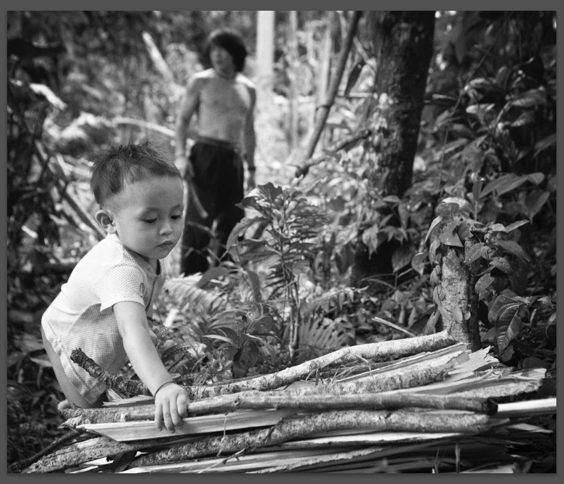 Above: Sometimes gathering firewood with others, as in this case with friends in Borneo, is easier than answering the tough questions.