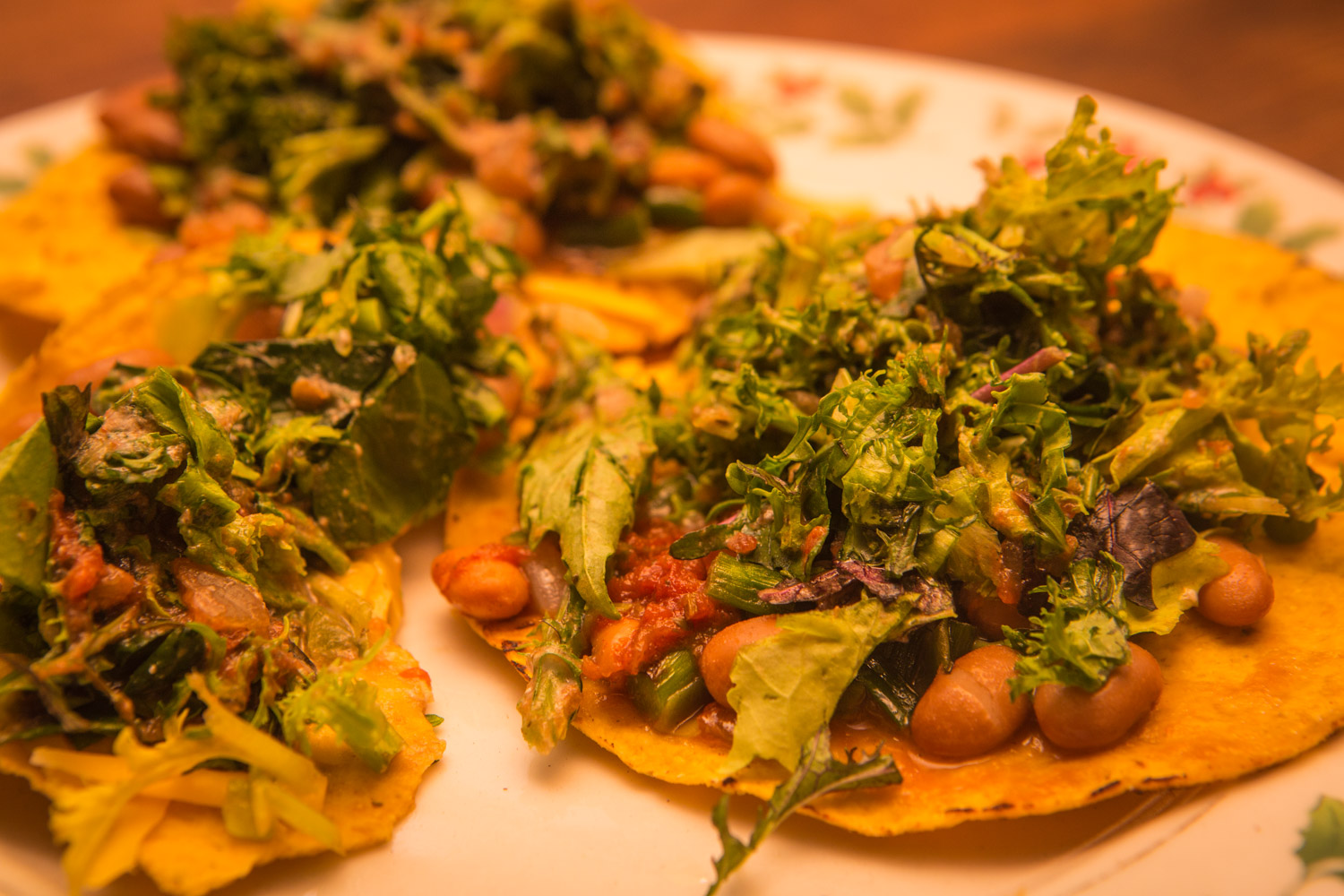 This made a fast, easy, fresh from the field dinner for us on Monday this week. Minimal cooking, less than 20 minutes from idea to table, and uses several of this week's subscription box ingredients. We used flat crispy corn tortillas, but you could also use taco shells, or roll it into soft tortillas for burrito-style. This recipe served two farmers.