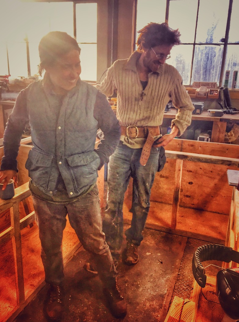 Farm friend Joanna caught this image of us in our shop this winter while we were building kitchen cabinets.
