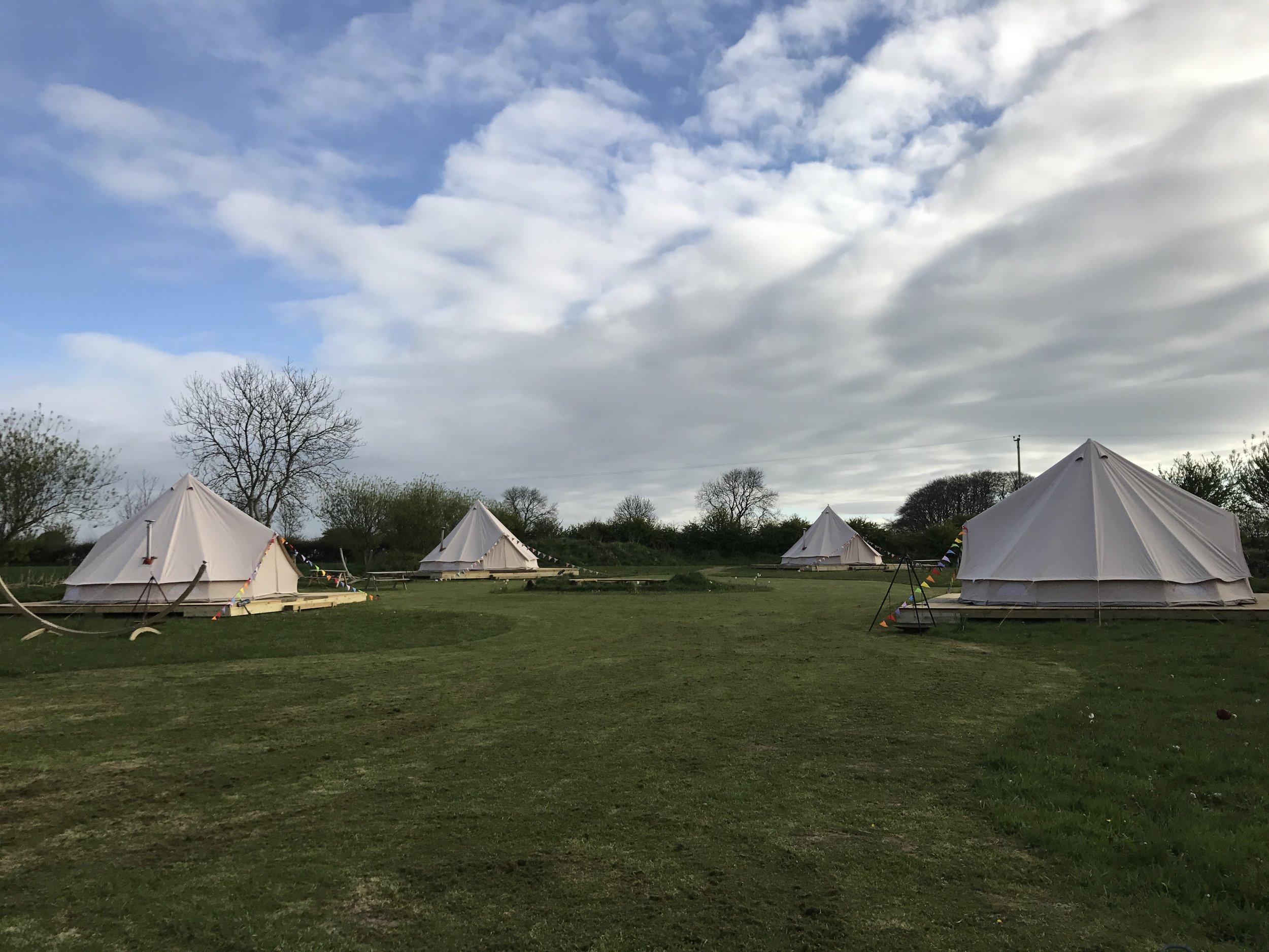 Our four tents, Burrington, Cheddar, Ebbor and George