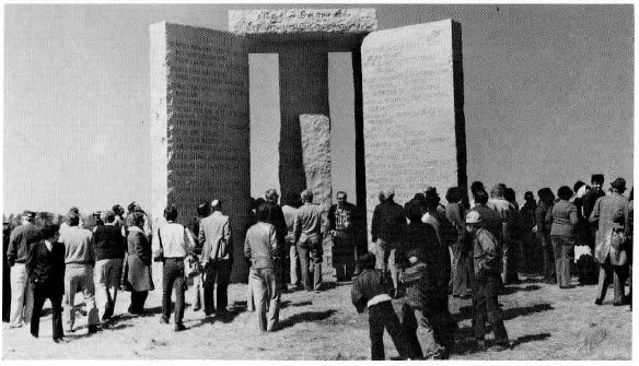 """""""The unveiling of the Georgia Guidestones. Could one of these people be the mysterious R.C. Christian?"""" -Via  Vigilant Citizen"""