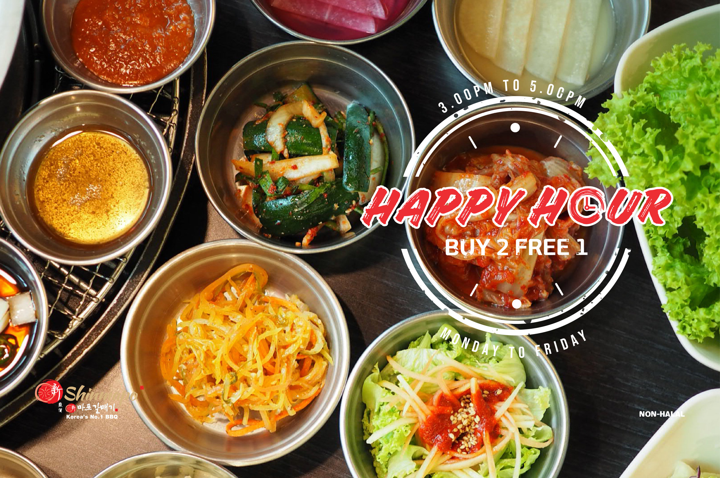 Happy Hour - Here's Promo you shouldn't miss!Happy Hour, BUY 2 FREE 1, available every Monday to Friday, from 3.00pm to 4.00pm at all Shinmapo Korean BBQ outlets!