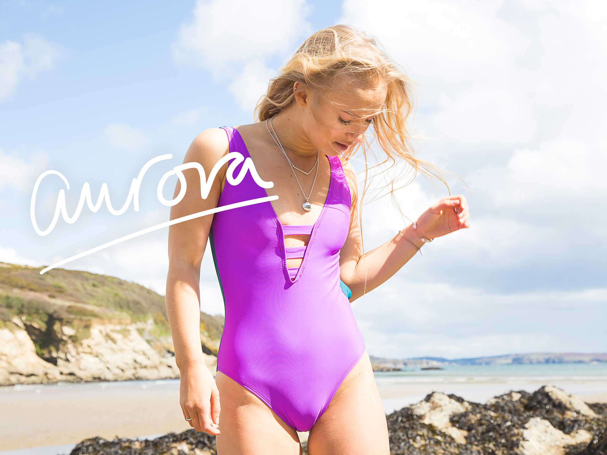 aurora swimsuit - purple & green