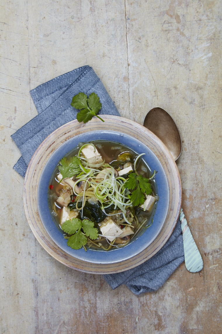 Miso broth with soba noodles