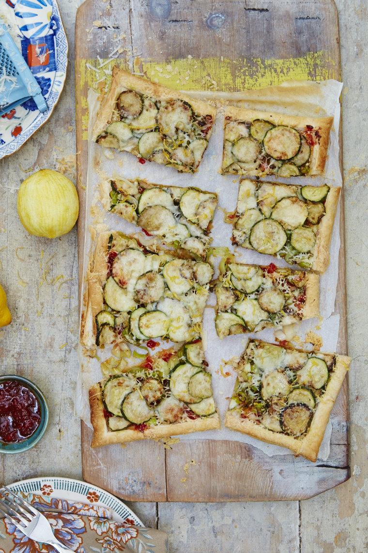 Courgette, leek & Gruyère tart