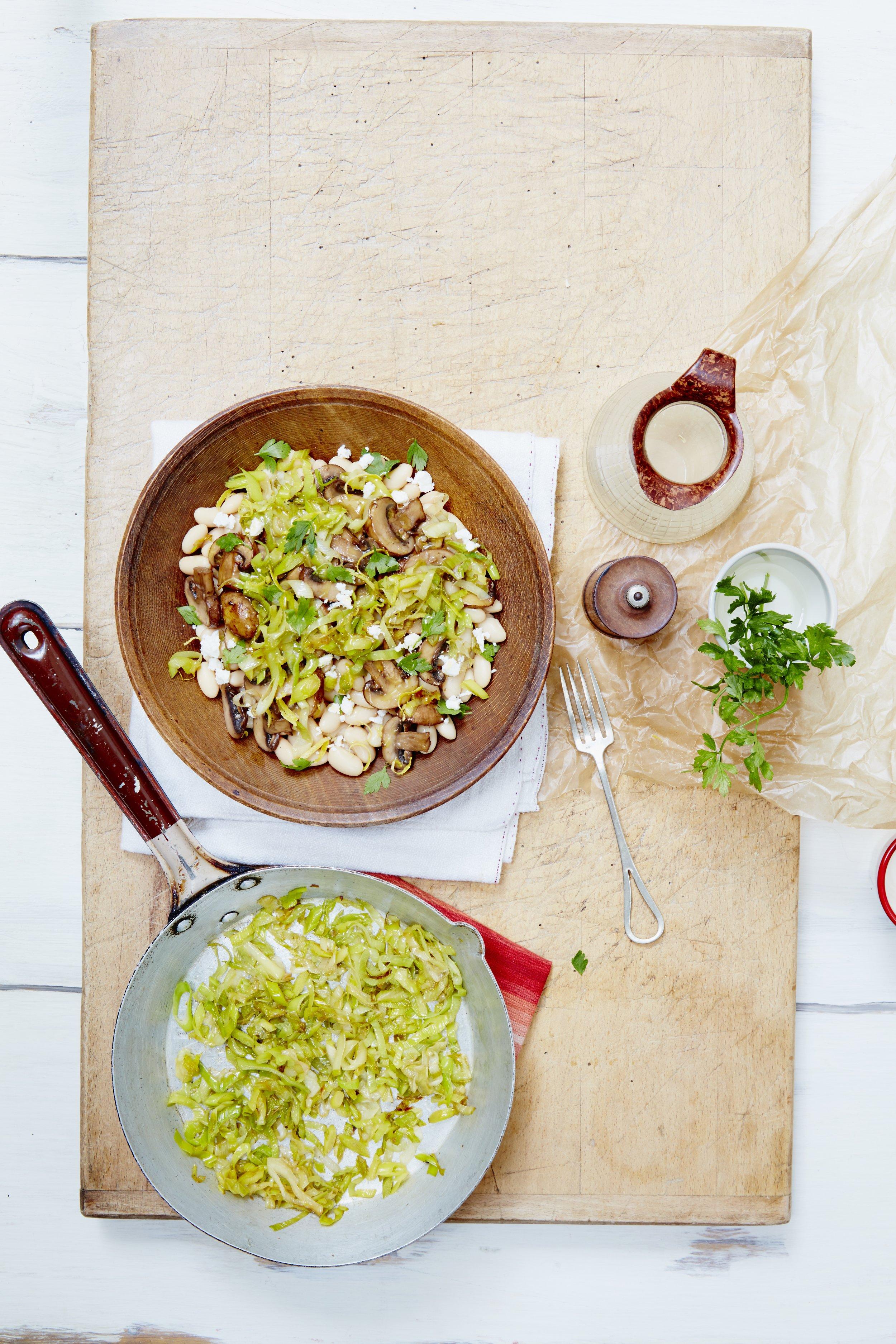 Sautéed mushroom, leeks and beans