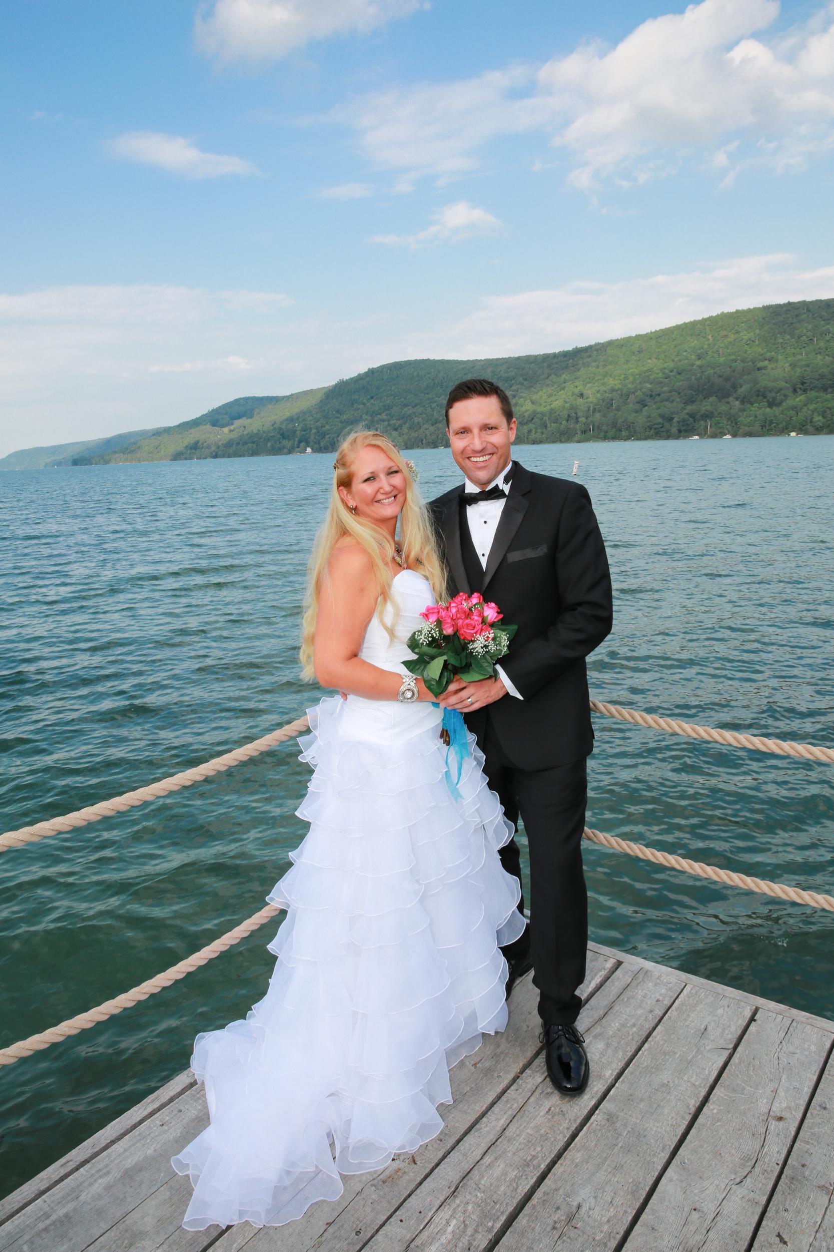Wedding couple photographed Lake George