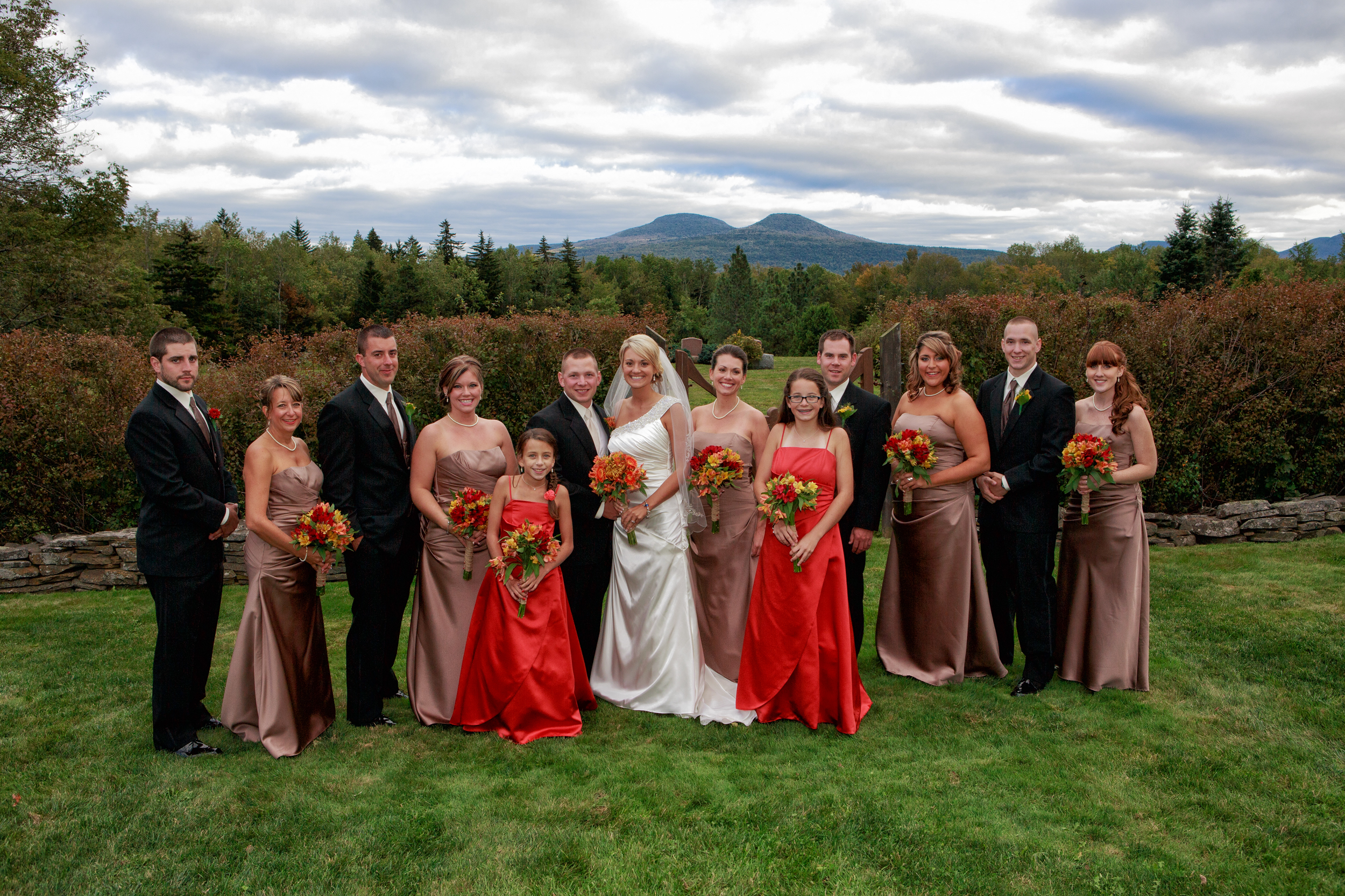 Wedding Bridal Party portrait in the Catskills