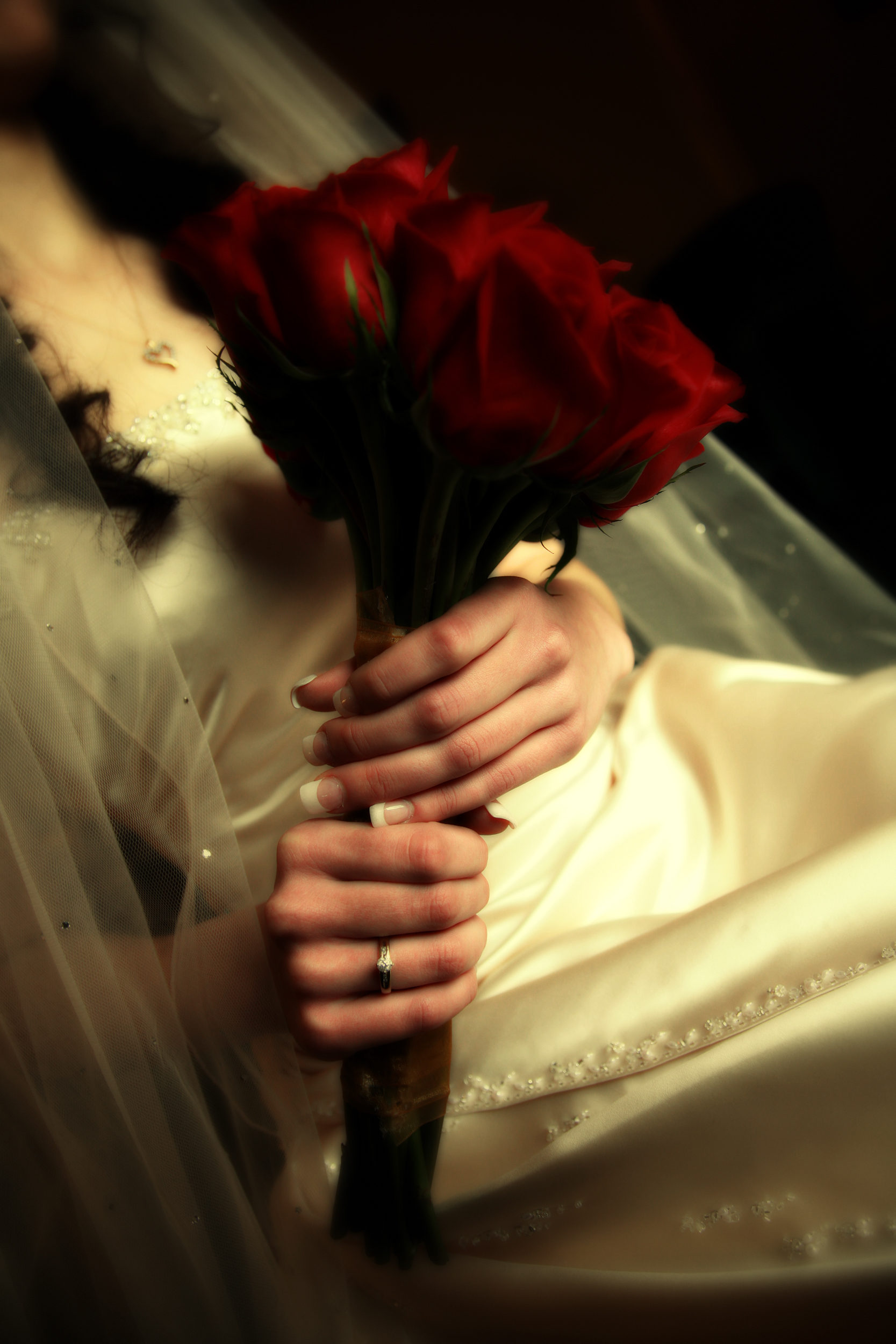 Fine art photo of classic bride with read roses