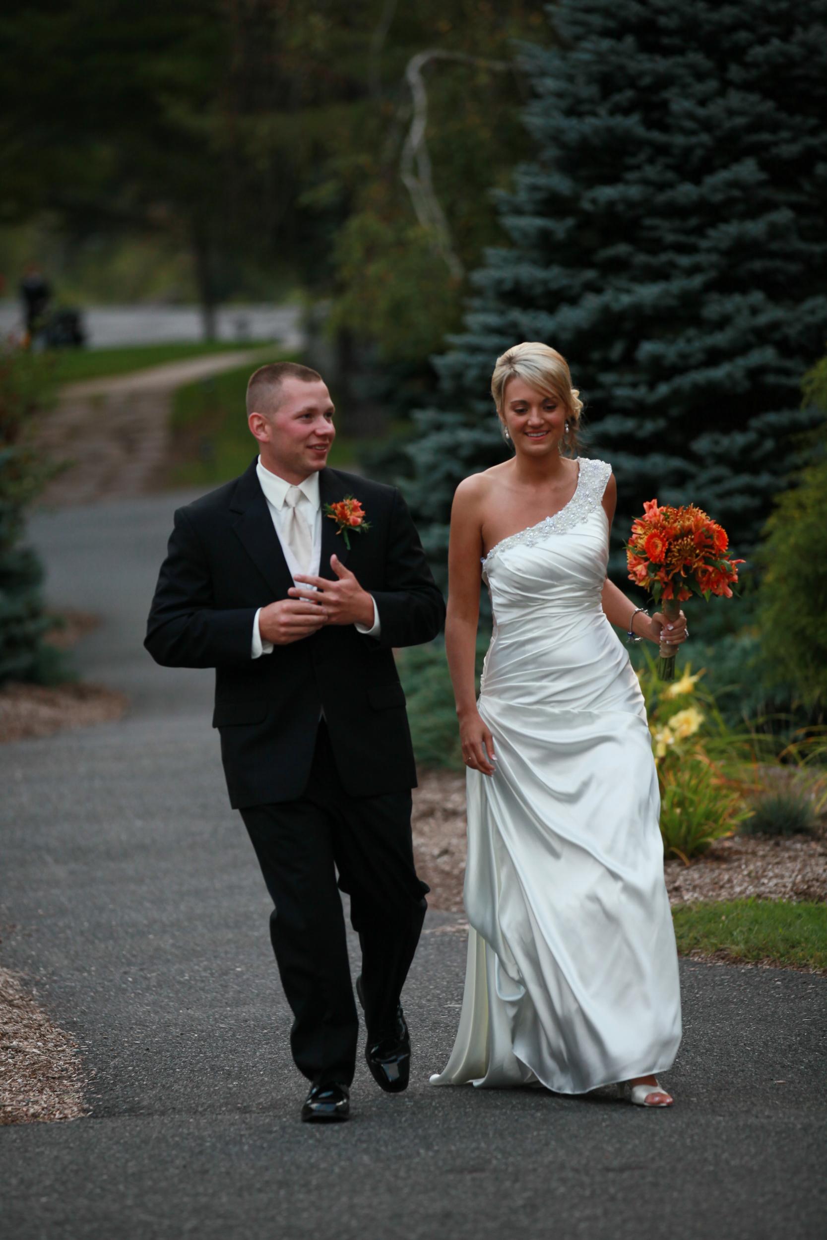 Taking a stroll at their wedding