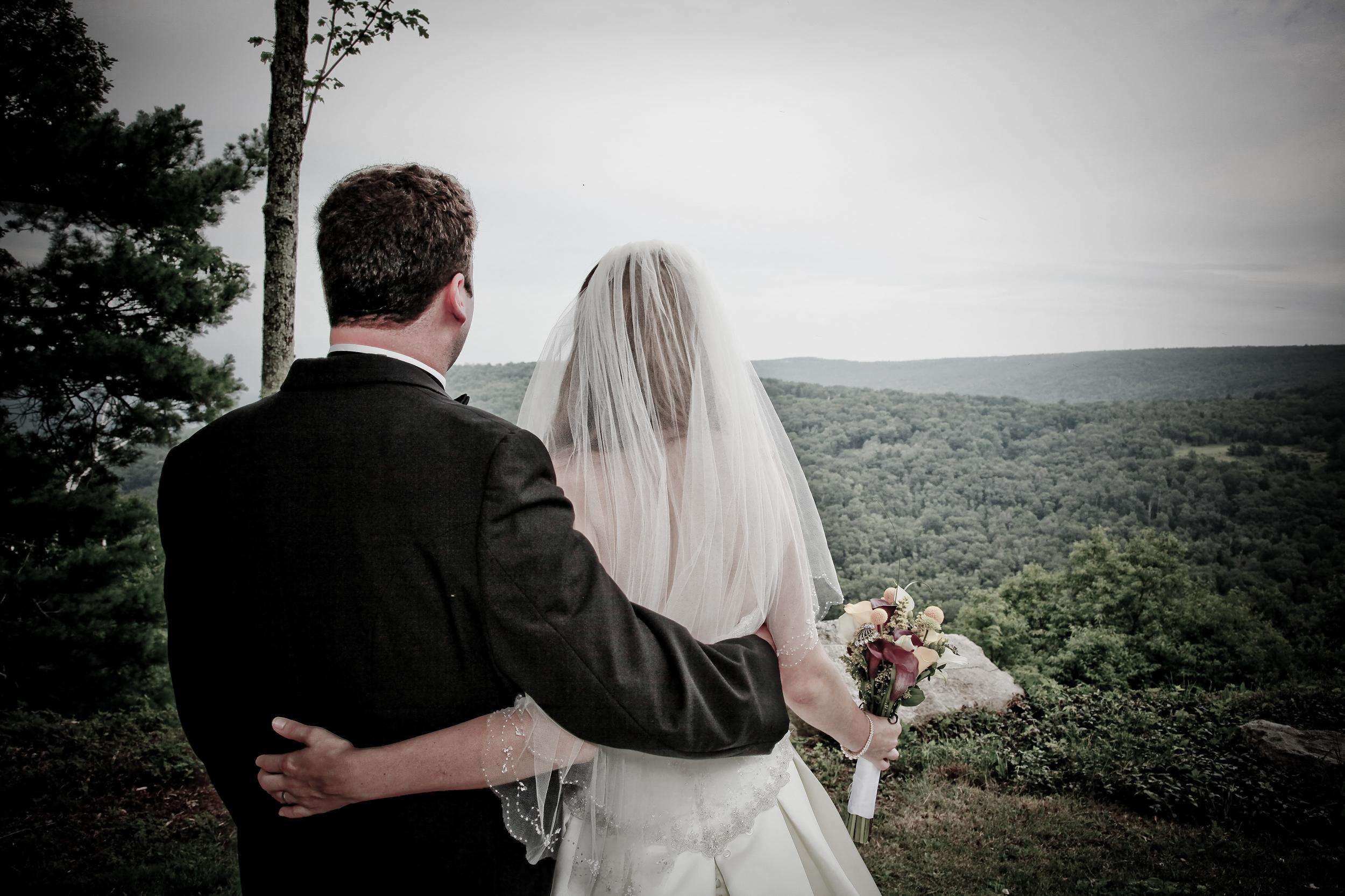 Wedding Portrait overlooking the Catskills