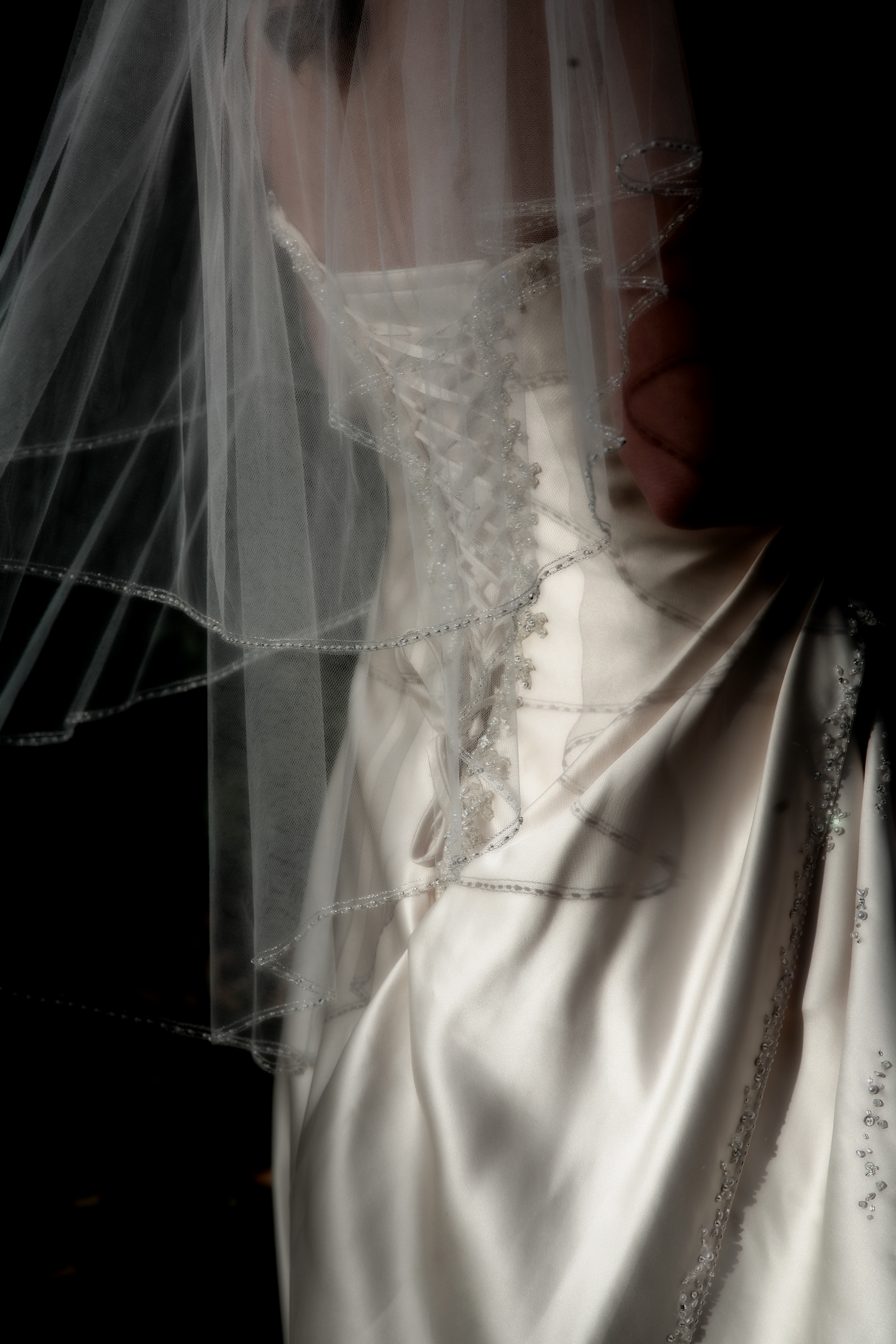 The back of a wedding dress