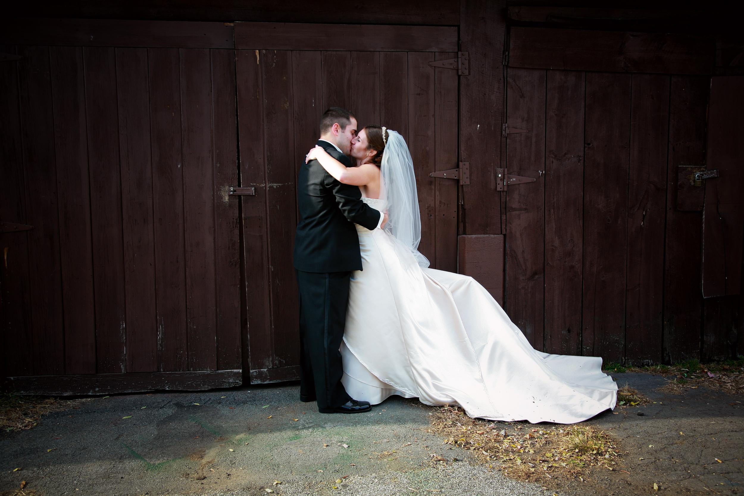 Wedding photo at an old barn.