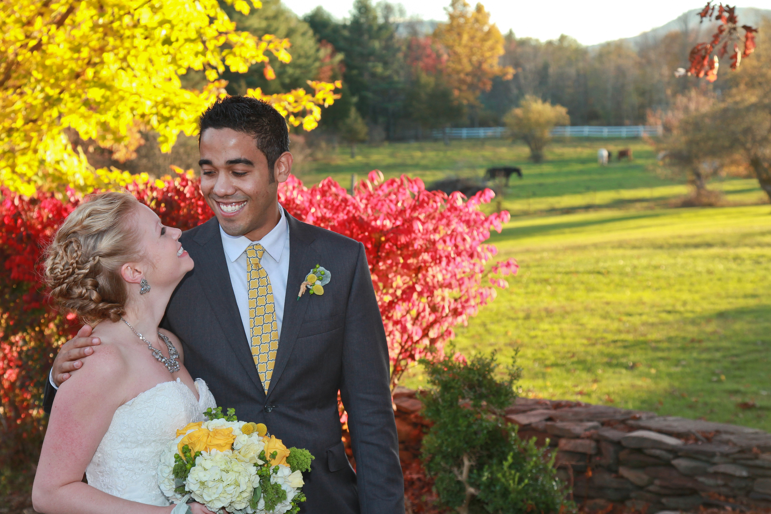 photo of bride and groom at a horse farm