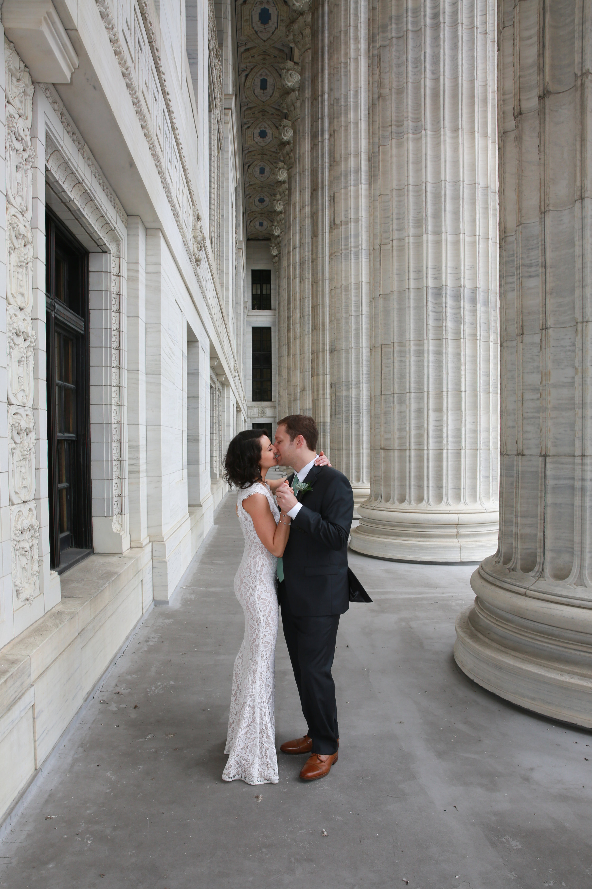 Wedding Couple on State Street in Albany, NY