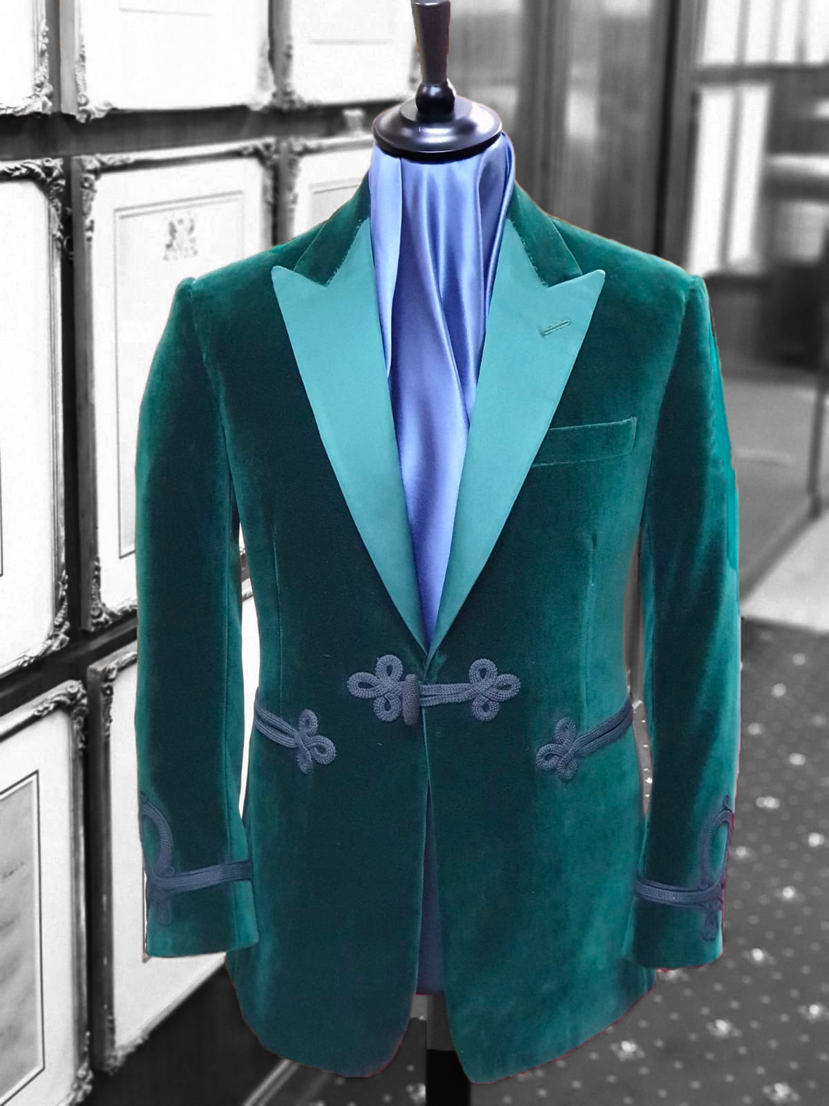 Churchillian Green Velvet Smoking Jacket