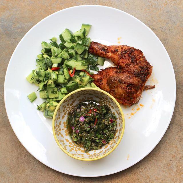 Peruvian Chicken with Salsa Verde and a Cucumber Avocado Salad. The perfect week night dinner! #dinein #glutenfree #realfoodzim #healthyeatingmadeeasy #recipebox #supportlocal #peruvianfood #tastetheworldathome #thisisrealfood #farmtotable