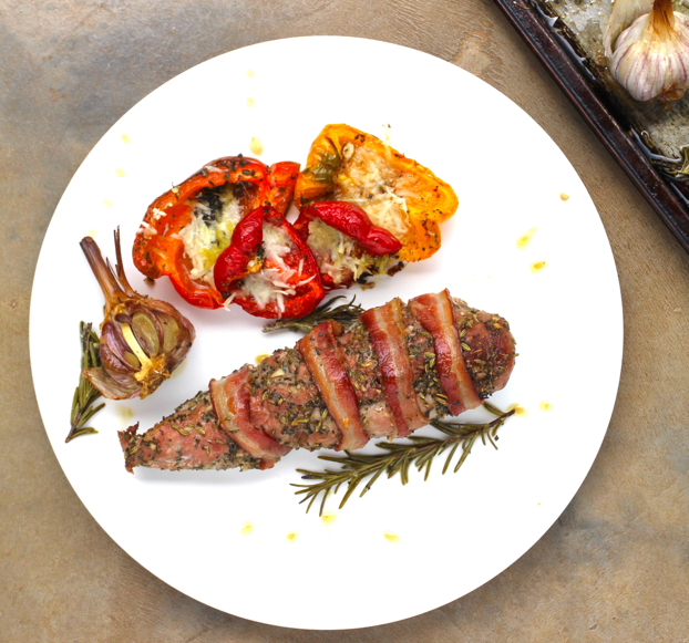 PORCHETTA WITH PARMESAN ROASTED PEPPERS
