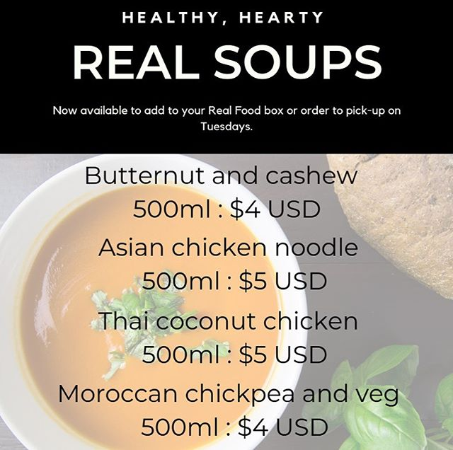 Reasons to order Real Soups: ✔️ an easy way to get your five a day ✔️ tried and tested recipes that everyone loved last winter ✔️ freeze them for later when you don't feel like cooking ✔️ made with love and quality ingredients ✔️ perfect for lunch, dinner or warming snack ✔️ all payment methods accepted ✔️ can be ordered with or without a #realfoodzim recipe box.  DM or WhatsApp 0777310018 to find out more! 🙌🏽🍲🍛 #thisisrealfood #realfood #justeatrealfood #realsoups #soup #winterfood #yum #souprecipe #soups #harare #zimbabwe #supportlocal #quality #tasty #cleaneating #foodphotography #instafood #warm #warmup #winter #treatyoself