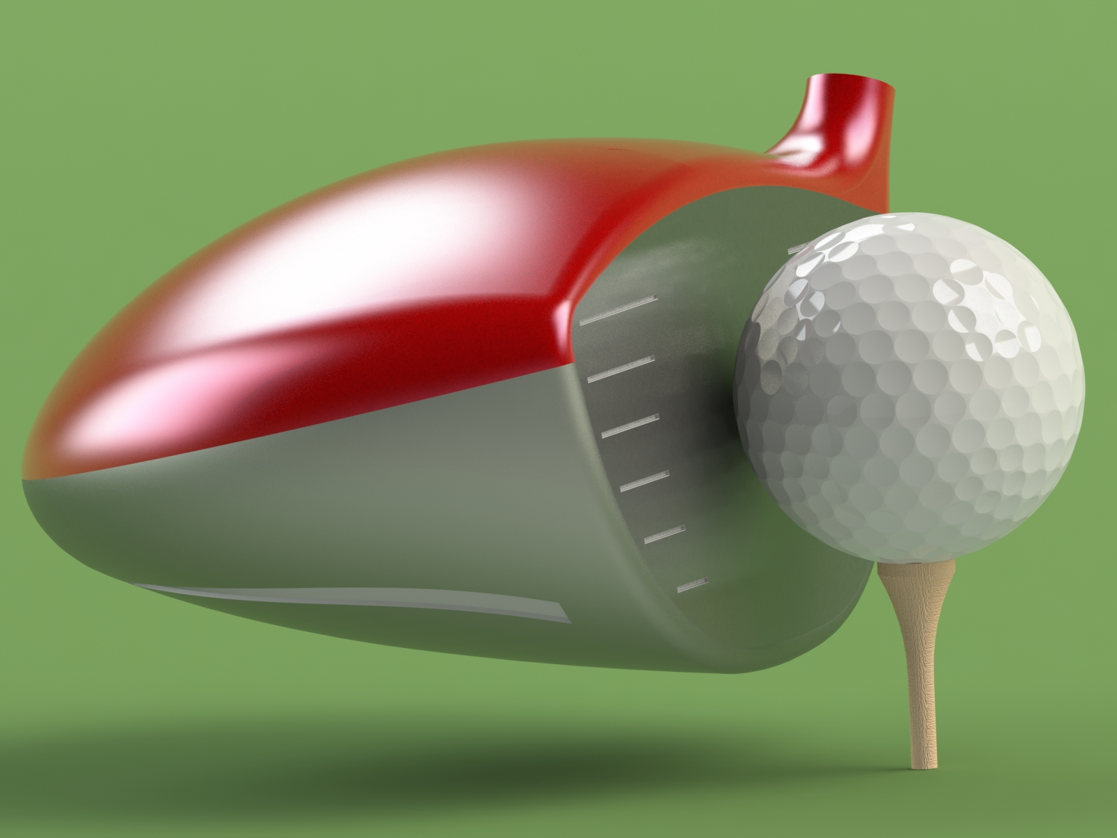 Rendered golf club and golf ball