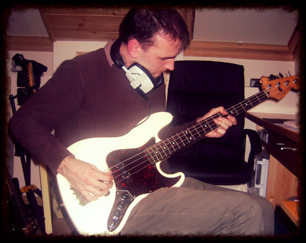 Andy (aka Rick Valenti) lays down some bass on the new BC album, circa 2007.