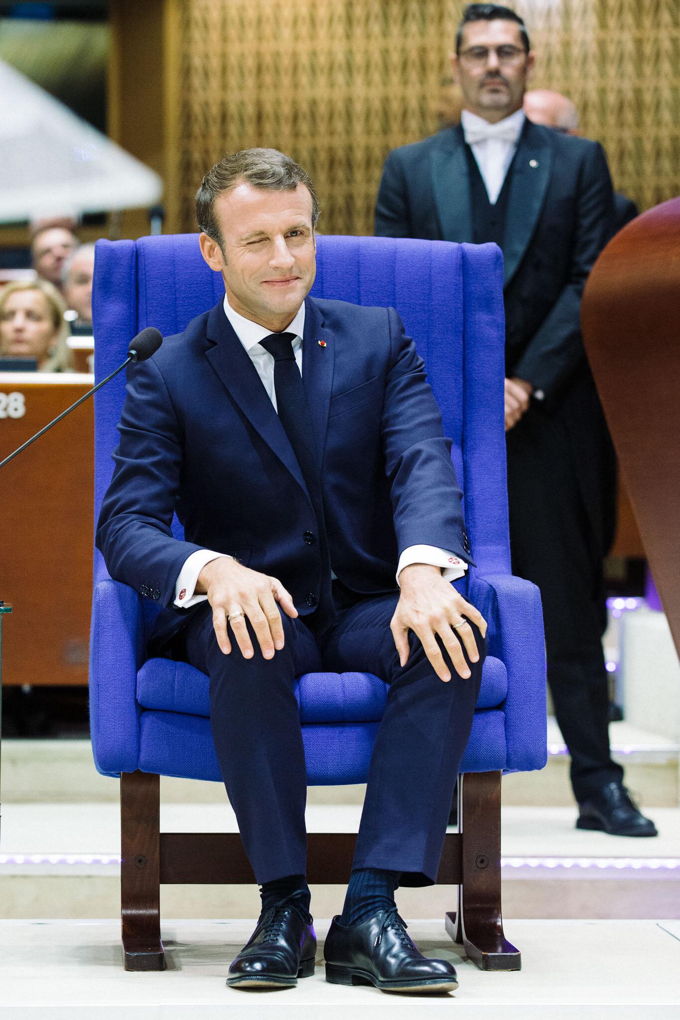 FRANCE - STRASBOURG - POLITIC - EMMANUEL MACRON AT THE COUNCIL O