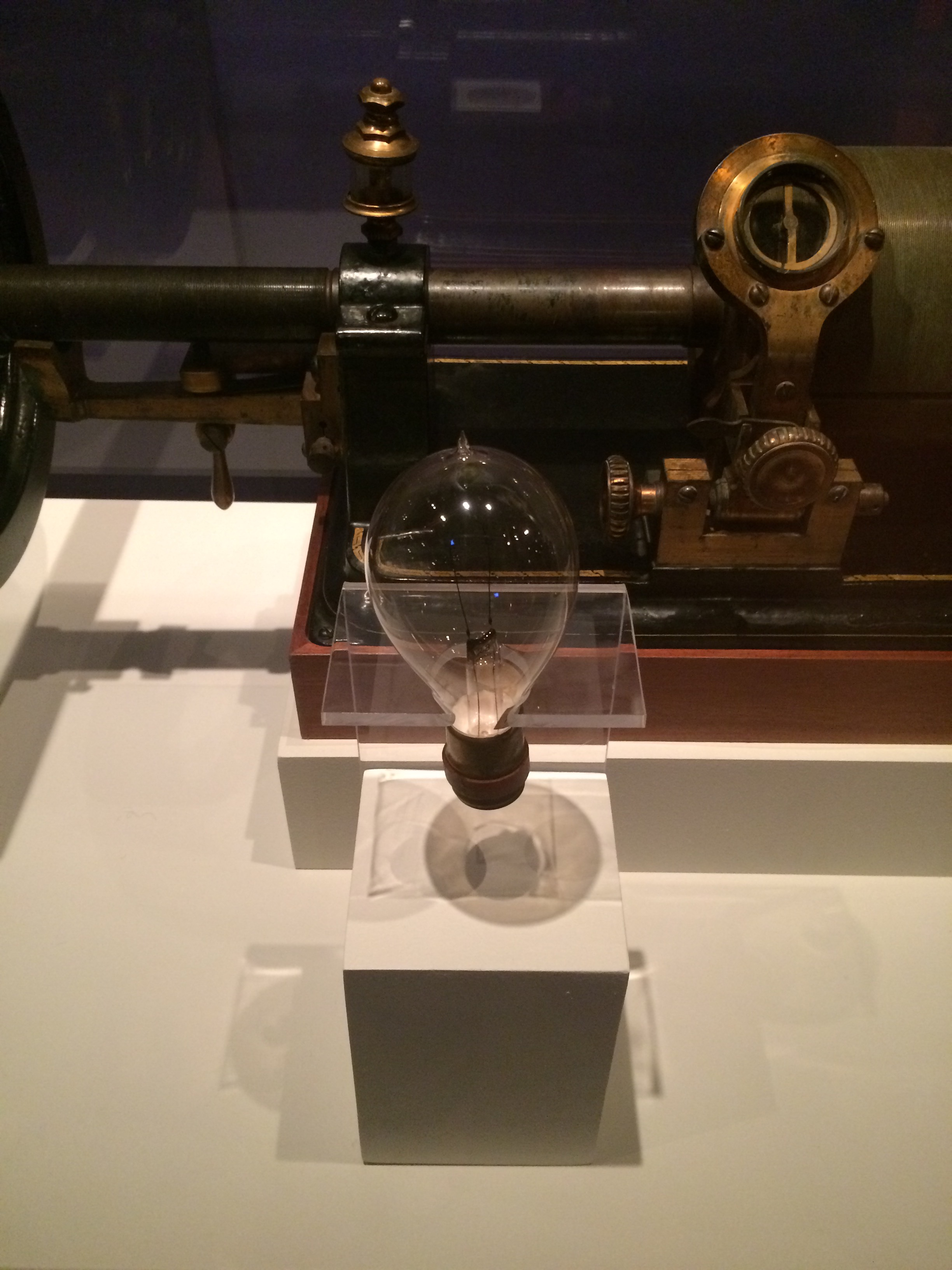 In DC's Museum of American History, one of Edison's light bulbs from the 1870s.