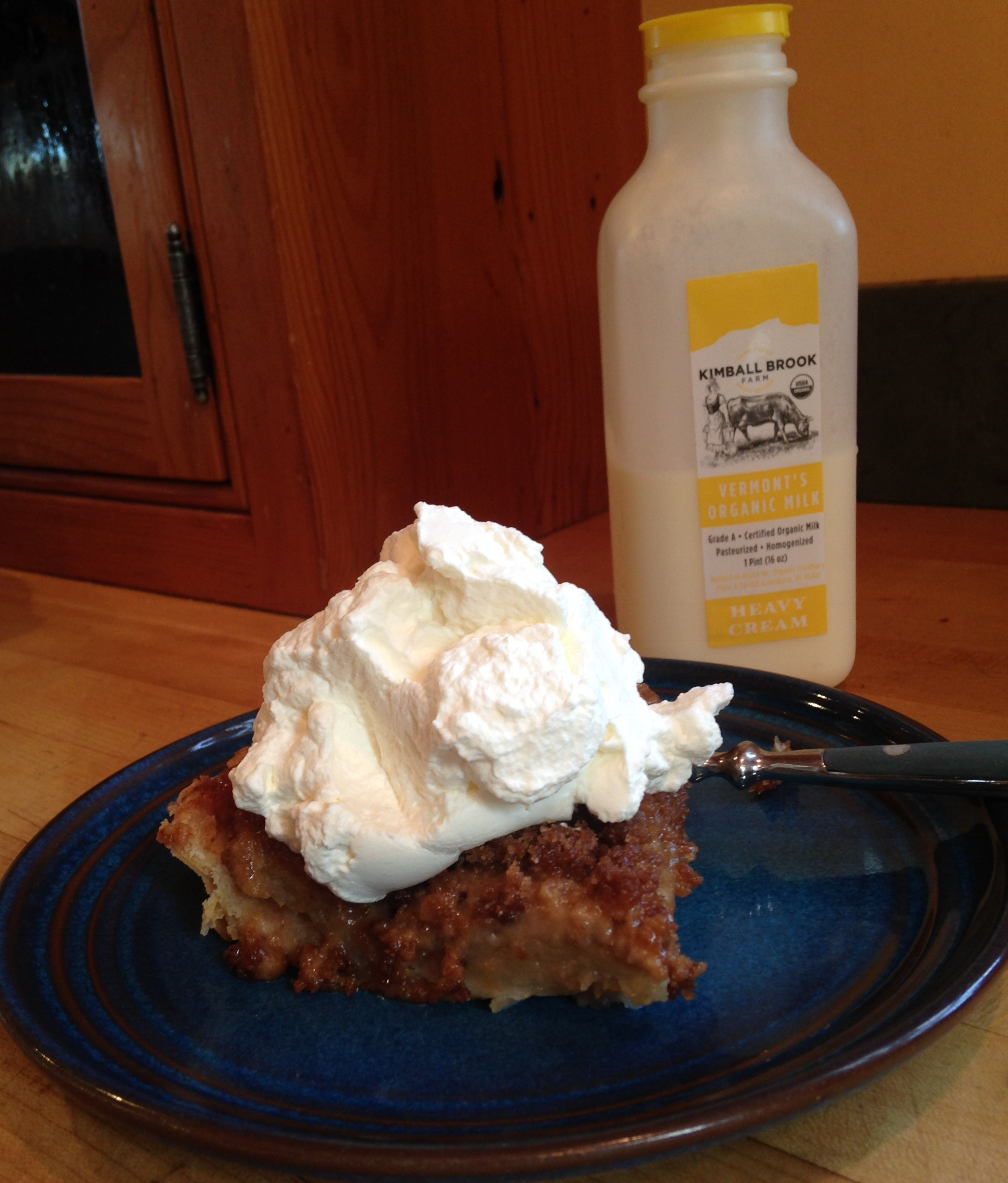 Whipped cream on Apple Crisp