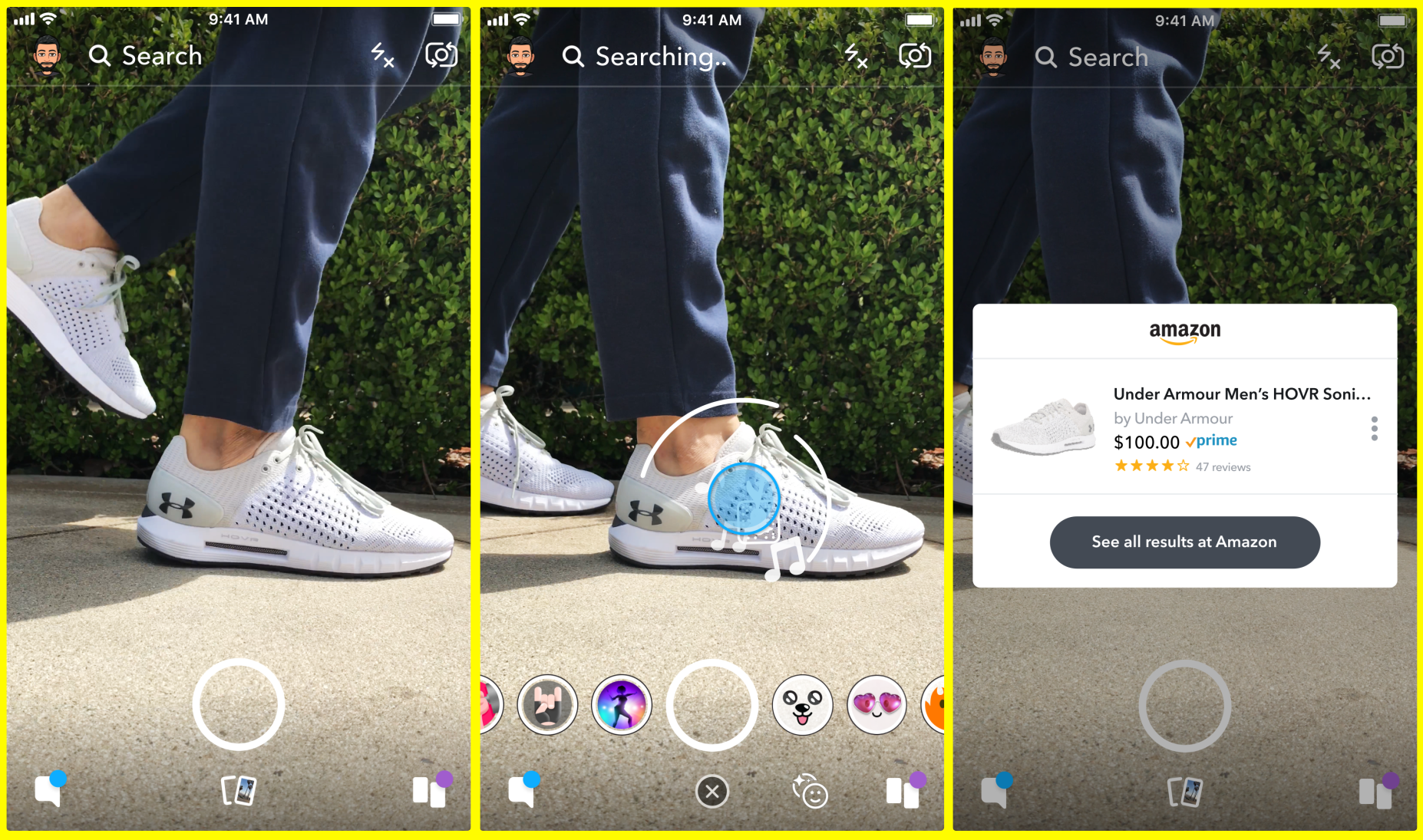 Snapchat's Visual Search in action: Scanning some shoes brings up the corresponding Amazon product page.
