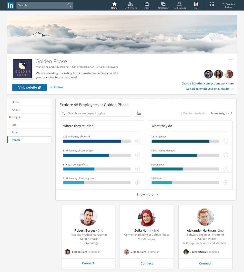 Example of the new People tab on a LinkedIn company page