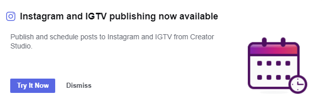 "Note: If you don't see this notification in your Creator Studio dashboard, be patient. According to FB:  ""This functionality is currently limited and may not yet be available to all Instagram accounts."""