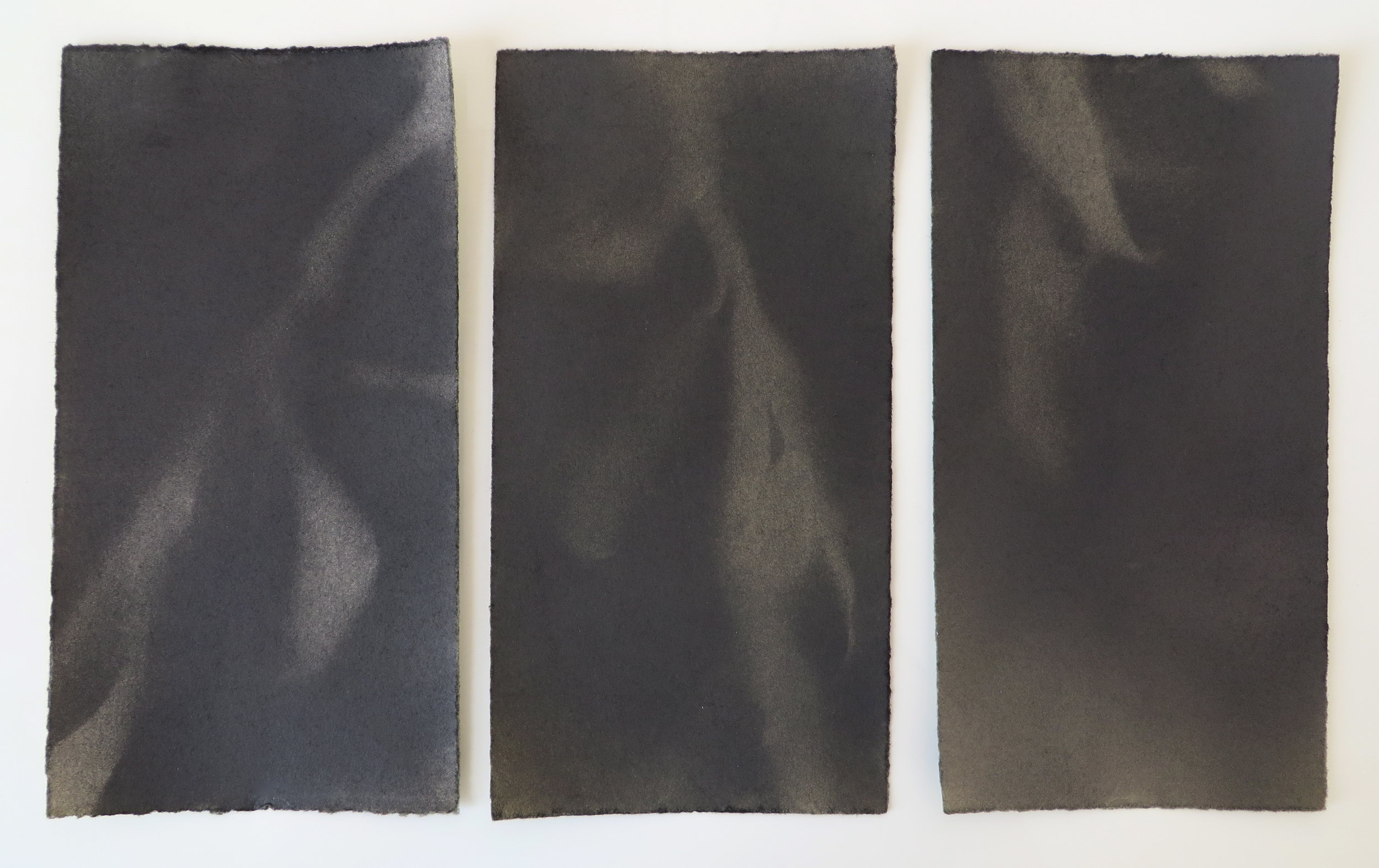Wind  Triptych. Graphite, each panel 8 x 4.25 inches, 2016.