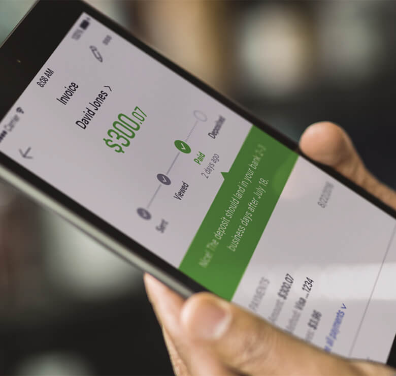 Quickbooks payments shown on iPad