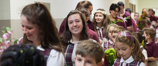 2nd and 8th grade students at St. Tim School on Columbus' Northwest side participate in the May Crowning to honor the Blessed Virgin Mary.