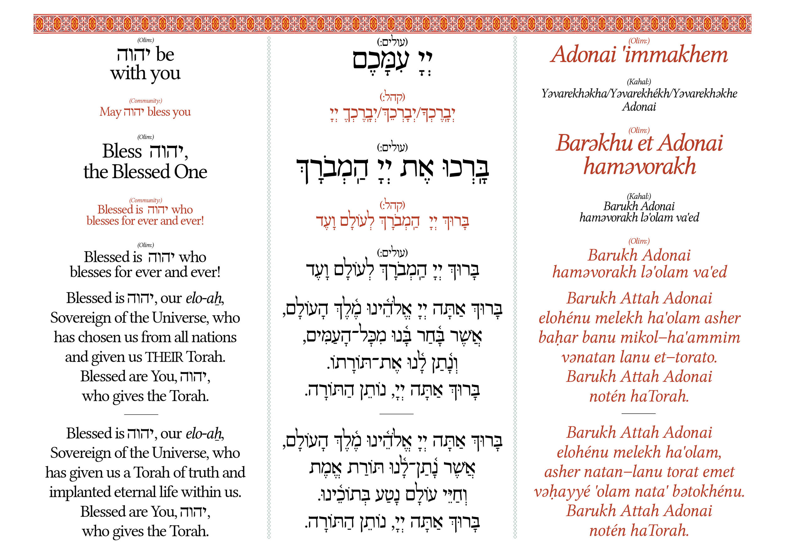 This page actually probably won't be in the siddur at all (at least not in this format) but will be among the materials available to be downloaded on our future website. The idea of Siddur Masorti has always been to provide the resources for anyone to create a Sepharadi, egalitarian minyan. That has been accomplished thanks to Isaac and a devoted group of volunteers here in London, who have formed Kolot haKahal, the first Sephardi-Egal minyan in the Western Hemisphere. This page was created from the open-source text of Siddur Masorti to make an aliyah card for the bimah at Kolot haKahal. I'm so excited to have helped inspire and provide the liturgical resources for this amazing new project, and we hope it is the first of many.