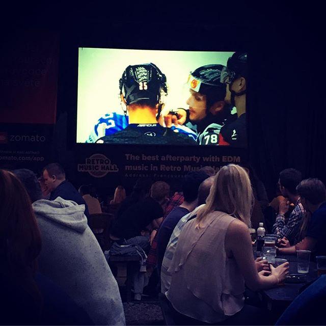 Beer garden + World Championship Canada v Finland. Yup. #hockey #icehockey #iihf #prague