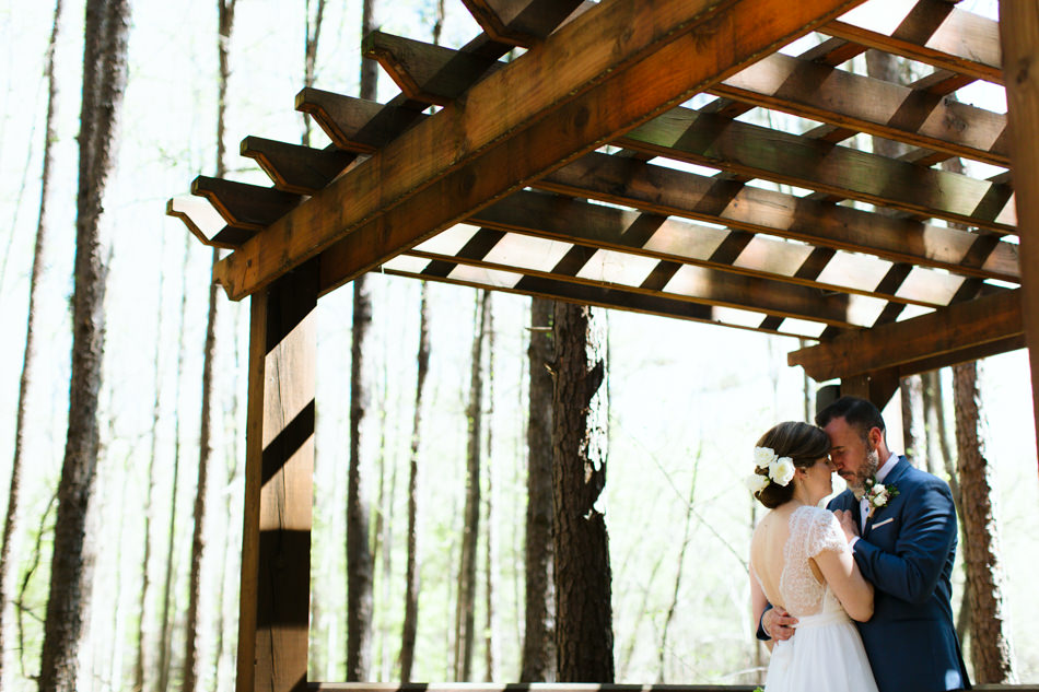 A bride and groom photo at their wedding at US National Whitewater Center