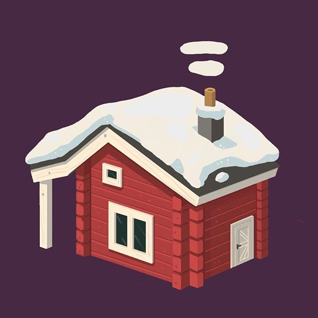 Cute lil cabin for Locomotion 🤙🏻 - - - #conceptart #digitalart #cute #art #gameart #indiedev #indiegame #winter #cabin #illustration