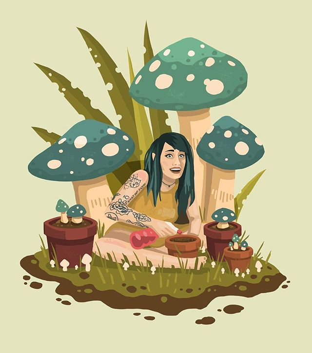 Happy Birhday to @desumilk mushroom handler - - - #art #digitalart #mushrooms #illustration