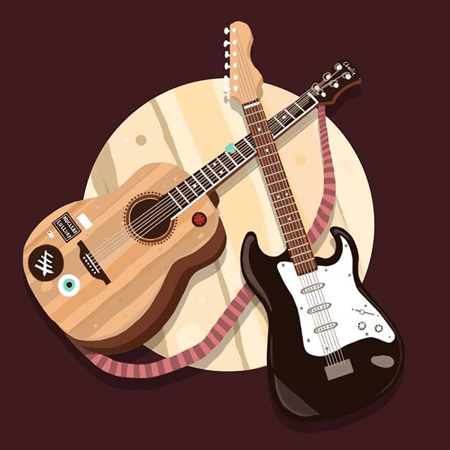 Promotional drawing for Guitar Great - online personal tutor Hit Charlie up to learn some amazing guitar www.nuclearlullaby.co.uk - - - #art #digitalart #illustration #guitar #guitarlessons #learnguitar #tutor #acoustic #electric
