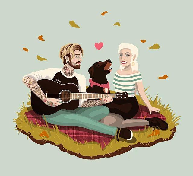 🍂 - - - #art #illustration #freelance #digitalart #cute #couple #dog