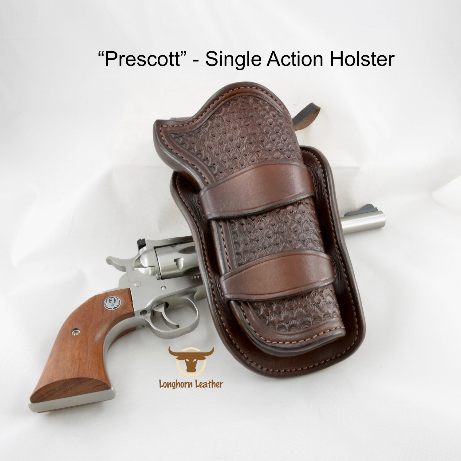 Longhorn Leather AZ - Single Action Holster featuring the %22Prescott%22 design.jpg