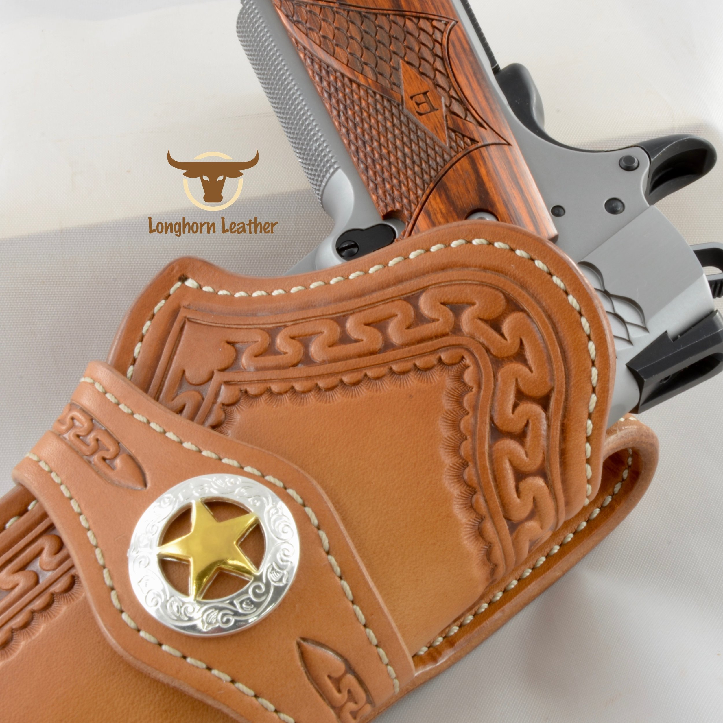 "1911 Holster featuring the ""Yuma"" design."