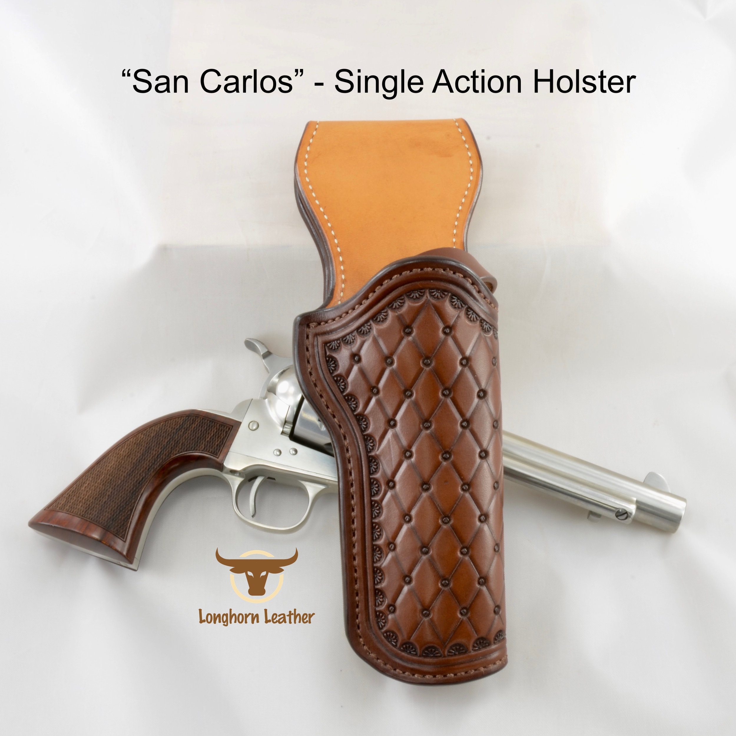 "Single Action holster featuring the ""San Carlos"" design."
