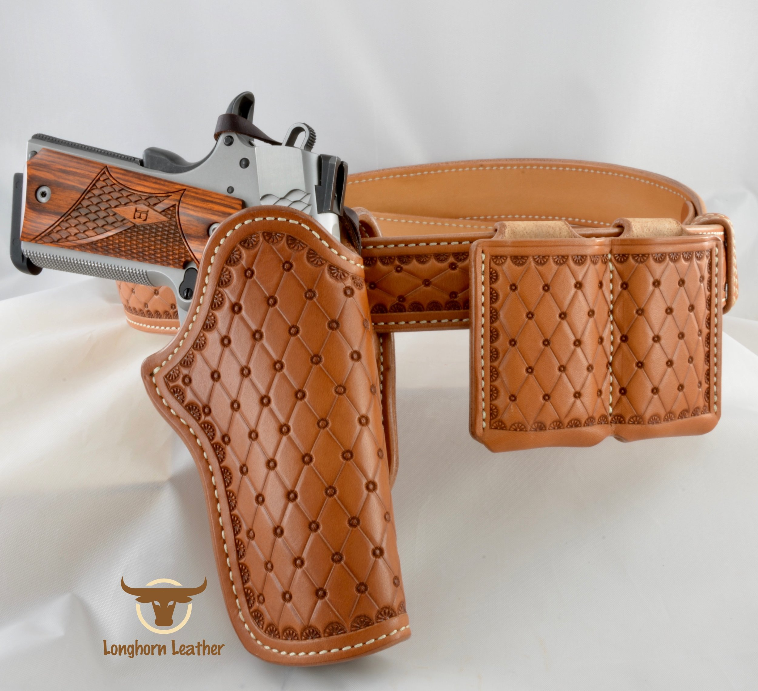"1911 Holster Rig featuring the ""San Carlos"" design."