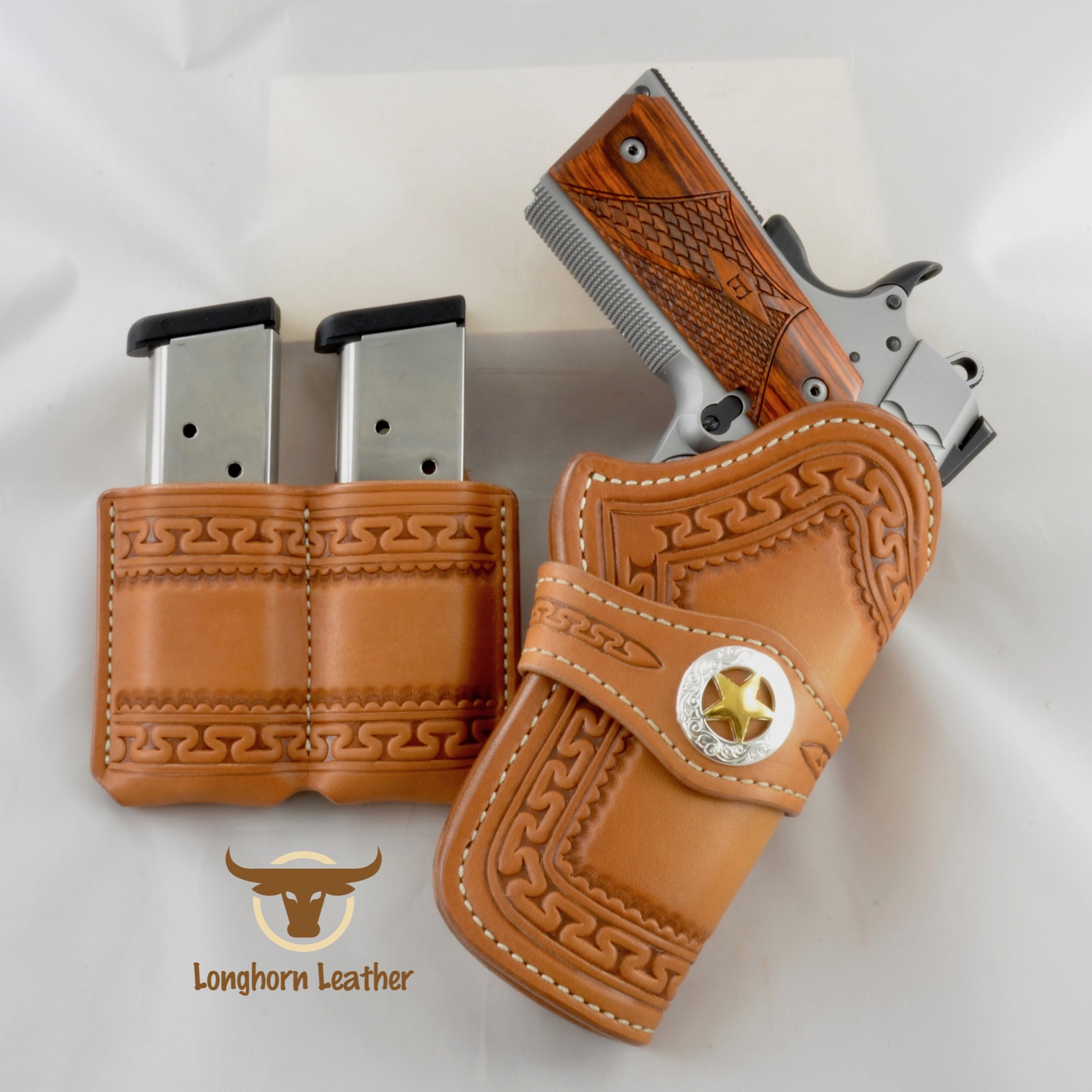"1911 Holster & Magazine Pouch featuring the ""Yuma"" design."